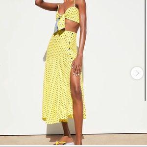 Zara Asymmetrical Skirt Yellow Black Polka small